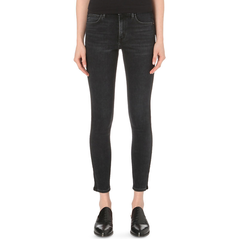 Skinny Cropped High Rise Jeans, Women's, Washed Black - style: skinny leg; pattern: plain; waist: high rise; pocket detail: traditional 5 pocket; predominant colour: black; occasions: casual; length: ankle length; fibres: cotton - stretch; texture group: denim; pattern type: fabric; season: s/s 2016; wardrobe: basic