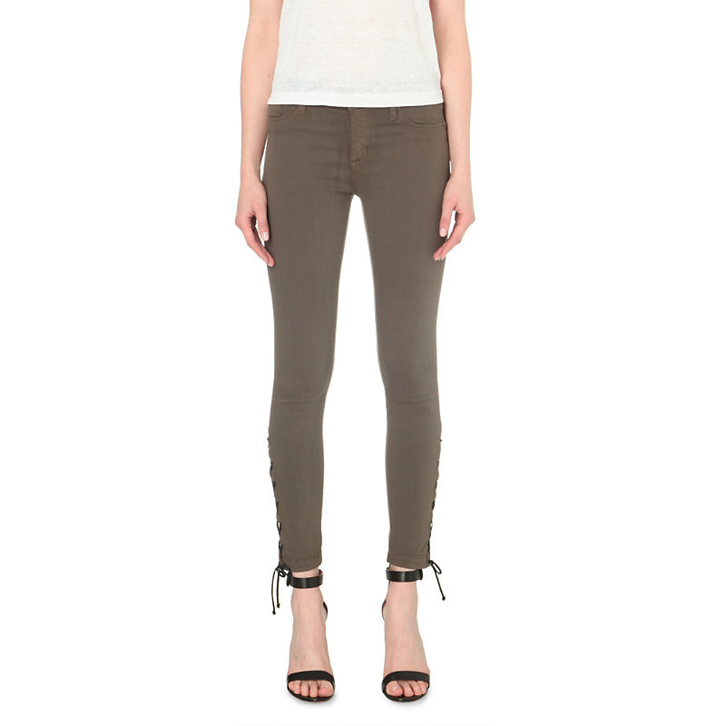 Nix Skinny Mid Rise Tie Up Jeans, Women's, Brunswick Green - style: skinny leg; length: standard; pattern: plain; waist: mid/regular rise; predominant colour: taupe; occasions: casual; fibres: cotton - stretch; texture group: denim; pattern type: fabric; season: s/s 2016; wardrobe: highlight