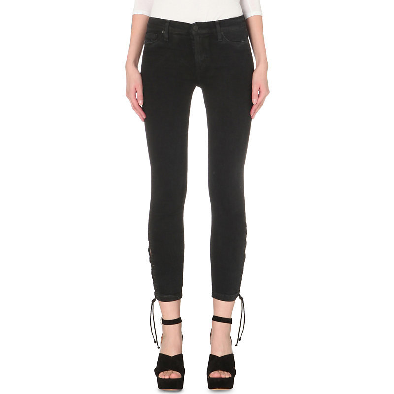 Nix Skinny Mid Rise Tie Up Jeans, Women's, Mercury Hail - style: skinny leg; pattern: plain; pocket detail: traditional 5 pocket; waist: mid/regular rise; predominant colour: black; occasions: casual; length: calf length; fibres: cotton - stretch; texture group: denim; pattern type: fabric; season: s/s 2016; wardrobe: basic