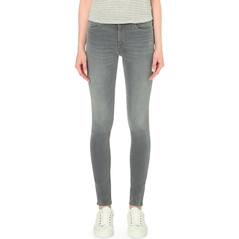 Nico Skinny High Rise Jeans - style: skinny leg; length: standard; pattern: plain; pocket detail: traditional 5 pocket; waist: mid/regular rise; predominant colour: mid grey; occasions: casual; fibres: cotton - stretch; jeans detail: whiskering, shading down centre of thigh; texture group: denim; pattern type: fabric; season: s/s 2016; wardrobe: highlight