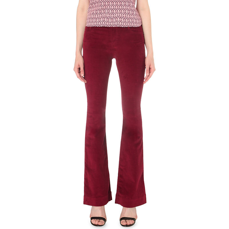 Pavory Flared Mid Rise Corduroy Jeans, Women's, Red - style: flares; length: standard; pattern: plain; pocket detail: traditional 5 pocket; waist: mid/regular rise; predominant colour: true red; occasions: casual, creative work; fibres: cotton - stretch; texture group: corduroy; pattern type: fabric; season: s/s 2016; wardrobe: highlight
