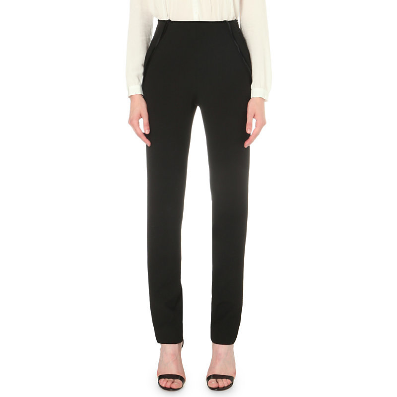 Prince Suspender Detail Crepe Trousers, Women's, Black - length: standard; pattern: plain; waist: high rise; predominant colour: black; occasions: work; fibres: polyester/polyamide - stretch; fit: slim leg; pattern type: fabric; texture group: woven light midweight; style: standard; season: s/s 2016; wardrobe: basic