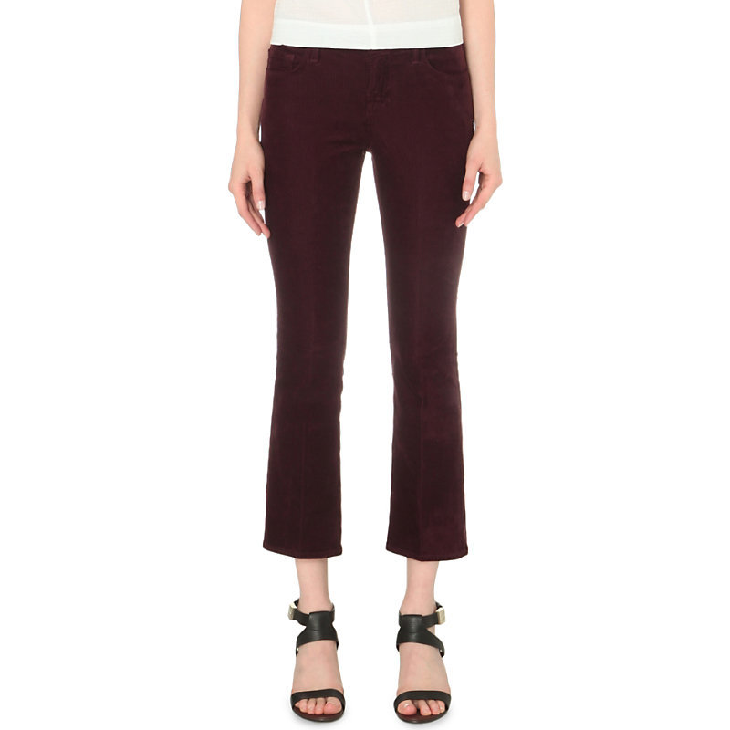 Selena Flared Mid Rise Corduroy Jeans, Women's, Deep Mulberry - style: flares; pattern: plain; pocket detail: traditional 5 pocket; waist: mid/regular rise; predominant colour: aubergine; occasions: casual, creative work; length: ankle length; fibres: cotton - stretch; texture group: corduroy; pattern type: fabric; season: s/s 2016; wardrobe: highlight