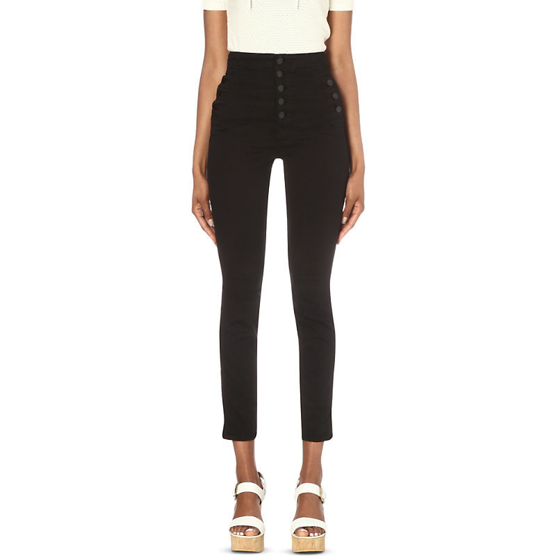 Natasha Skinny High Rise Jeans, Women's, Seriously Black - style: skinny leg; pattern: plain; waist: high rise; predominant colour: black; occasions: casual; length: calf length; fibres: cotton - stretch; texture group: denim; pattern type: fabric; season: s/s 2016; wardrobe: basic