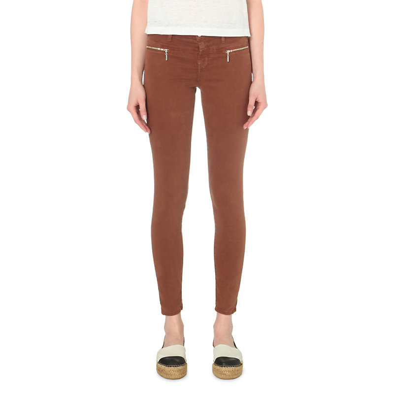 Miranda Skinny Mid Rise Sateen Jeans, Women's, Burnt Umber - style: skinny leg; length: standard; pattern: plain; waist: mid/regular rise; predominant colour: terracotta; occasions: casual; fibres: cotton - stretch; texture group: denim; pattern type: fabric; season: s/s 2016; wardrobe: highlight