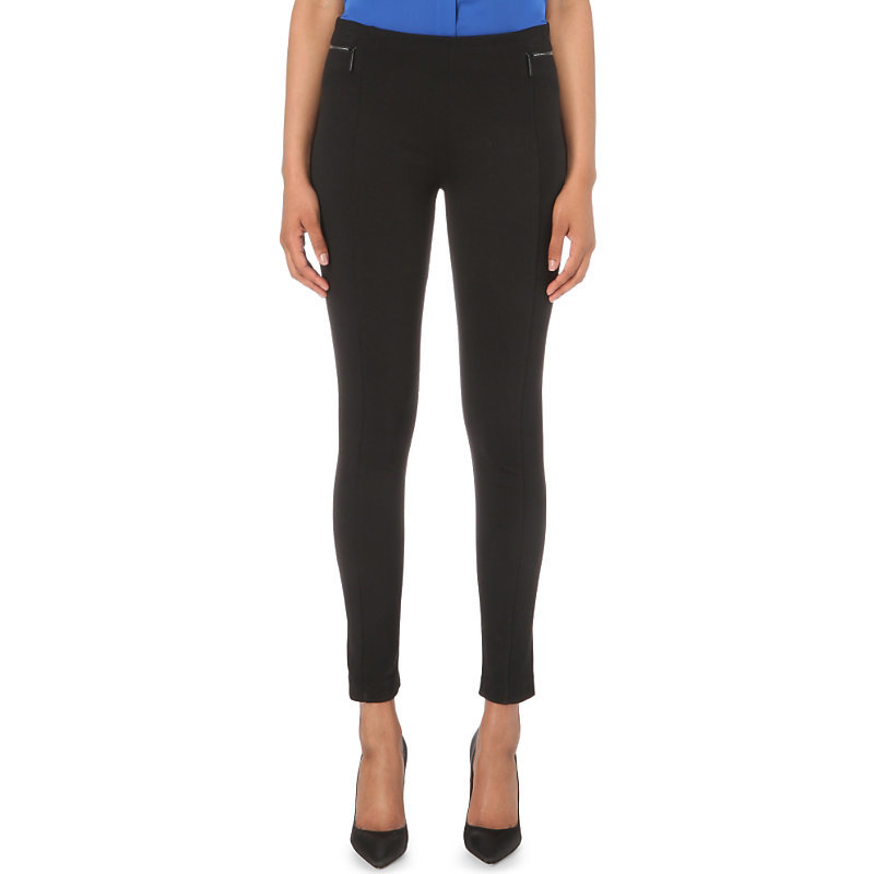 Skinny Mid Rise Jersey Trousers, Women's, Black - length: standard; pattern: plain; waist: mid/regular rise; predominant colour: black; fibres: polyester/polyamide - stretch; fit: skinny/tight leg; pattern type: fabric; texture group: jersey - stretchy/drapey; style: standard; occasions: creative work; season: s/s 2016; wardrobe: basic