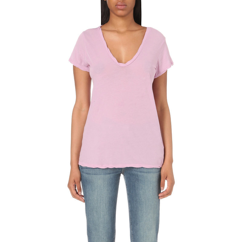 Loose Fit Cotton Jersey T Shirt, Women's, Size: Small, Wisteria - neckline: v-neck; pattern: plain; style: t-shirt; predominant colour: pink; occasions: casual; length: standard; fibres: cotton - 100%; fit: body skimming; sleeve length: short sleeve; sleeve style: standard; pattern type: fabric; texture group: jersey - stretchy/drapey; season: s/s 2016; wardrobe: highlight