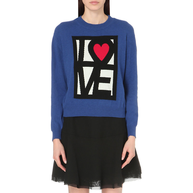 Love Heart Knitted Jumper, Women's, Blue - neckline: round neck; style: standard; predominant colour: royal blue; occasions: casual, creative work; length: standard; fibres: nylon - mix; fit: standard fit; sleeve length: long sleeve; sleeve style: standard; texture group: knits/crochet; pattern type: knitted - fine stitch; pattern: graphic/slogan; season: s/s 2016; wardrobe: highlight