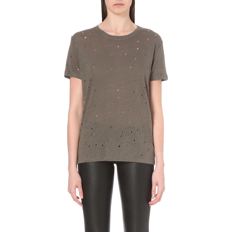 Clay Distressed Linen T Shirt, Women's, Size: Medium, Stone Grey - pattern: plain; style: t-shirt; predominant colour: khaki; occasions: casual; length: standard; fibres: linen - 100%; fit: body skimming; neckline: crew; sleeve length: short sleeve; sleeve style: standard; pattern type: fabric; texture group: jersey - stretchy/drapey; season: s/s 2016