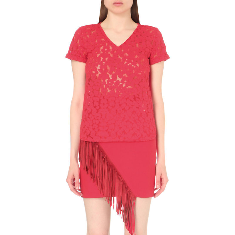 Trompette Lace Embroidered Cotton Blend Top, Women's, Size: Small, Rouge - neckline: v-neck; predominant colour: hot pink; occasions: evening; length: standard; style: top; fibres: cotton - 100%; fit: empire; sleeve length: short sleeve; sleeve style: standard; texture group: lace; pattern type: fabric; pattern: patterned/print; season: s/s 2016; wardrobe: event