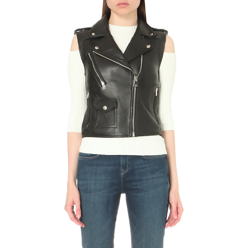 Blondy Sleeveless Leather Jacket, Women's, Black - pattern: plain; sleeve style: sleeveless; style: gilet; collar: asymmetric biker; fit: slim fit; predominant colour: black; occasions: casual, creative work; length: standard; fibres: leather - 100%; sleeve length: sleeveless; texture group: leather; collar break: medium; pattern type: fabric; season: s/s 2016; wardrobe: highlight