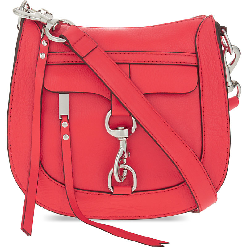 Dog Clip Grained Leather Saddle Bag, Women's, Dragon Fruit - predominant colour: coral; occasions: casual, creative work; type of pattern: standard; style: saddle; length: across body/long; size: standard; material: leather; pattern: plain; finish: plain; season: s/s 2016; wardrobe: highlight