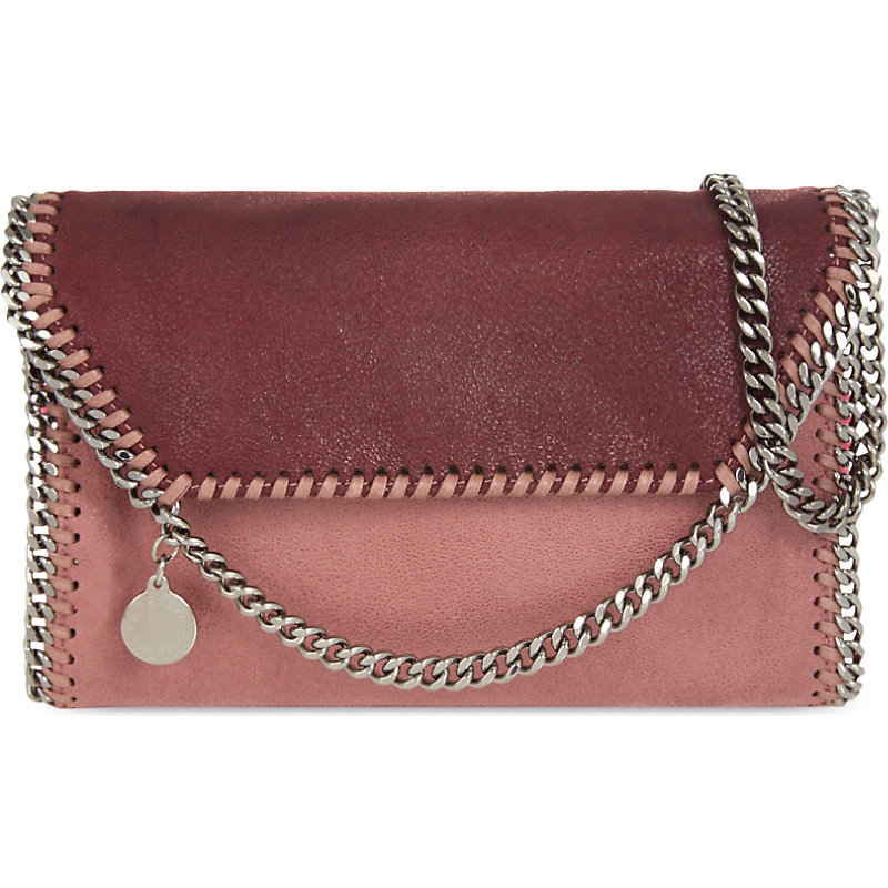 Falabella Cross Body Bag, Women's, Plum Multi - predominant colour: burgundy; occasions: casual, creative work; type of pattern: standard; style: messenger; length: across body/long; size: standard; material: faux leather; finish: plain; pattern: colourblock; secondary colour: dusky pink; season: s/s 2016