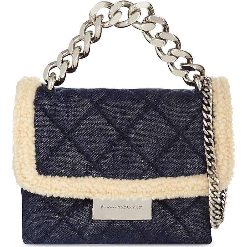 Mini Beckett Sherling Denim (Blue) Shoulder Bag, Women's - predominant colour: navy; secondary colour: gold; occasions: casual, creative work; type of pattern: standard; style: shoulder; length: shoulder (tucks under arm); size: standard; material: fabric; pattern: plain; finish: plain; embellishment: chain/metal; season: s/s 2016; wardrobe: investment