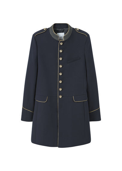 Military Style Coat - pattern: plain; collar: mandarin; fit: slim fit; length: mid thigh; predominant colour: navy; secondary colour: gold; occasions: casual, creative work; fibres: cotton - mix; sleeve length: long sleeve; sleeve style: standard; collar break: high; pattern type: fabric; texture group: woven bulky/heavy; style: single breasted military coat; season: s/s 2016; wardrobe: highlight