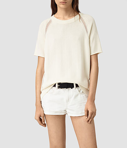 Lanta Knitted Tee - pattern: plain; style: t-shirt; predominant colour: white; occasions: casual; length: standard; fibres: cotton - 100%; fit: body skimming; neckline: crew; sleeve length: short sleeve; sleeve style: standard; texture group: knits/crochet; pattern type: fabric; season: s/s 2016; wardrobe: basic
