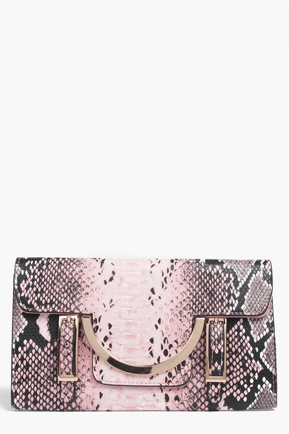 Faux Snake Metal Detail Clutch Bag Blush - predominant colour: blush; occasions: evening, occasion; type of pattern: standard; style: clutch; length: hand carry; size: standard; material: faux leather; pattern: animal print; finish: plain; multicoloured: multicoloured; season: s/s 2016; wardrobe: event
