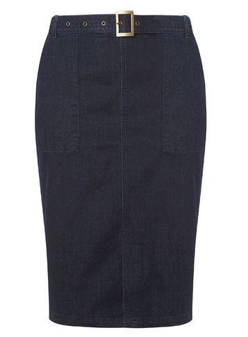 Womens **Dp Curve Indigo Belted Skirt Blue - pattern: plain; style: pencil; fit: tailored/fitted; waist detail: belted waist/tie at waist/drawstring; waist: mid/regular rise; predominant colour: navy; length: just above the knee; fibres: cotton - mix; texture group: denim; pattern type: fabric; occasions: creative work; season: s/s 2016