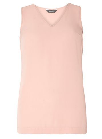 Womens **Tall Blush V Neck Built Up Top Pink - neckline: v-neck; pattern: plain; sleeve style: sleeveless; predominant colour: pink; occasions: casual, creative work; length: standard; style: top; fibres: polyester/polyamide - 100%; fit: body skimming; sleeve length: sleeveless; texture group: sheer fabrics/chiffon/organza etc.; pattern type: fabric; season: s/s 2016; wardrobe: highlight
