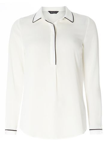 Womens Ivory Tipped Placket Shirt White - neckline: shirt collar/peter pan/zip with opening; pattern: plain; style: shirt; predominant colour: white; secondary colour: black; occasions: casual, work; length: standard; fibres: polyester/polyamide - 100%; fit: body skimming; sleeve length: long sleeve; sleeve style: standard; texture group: crepes; pattern type: fabric; multicoloured: multicoloured; season: s/s 2016; wardrobe: basic