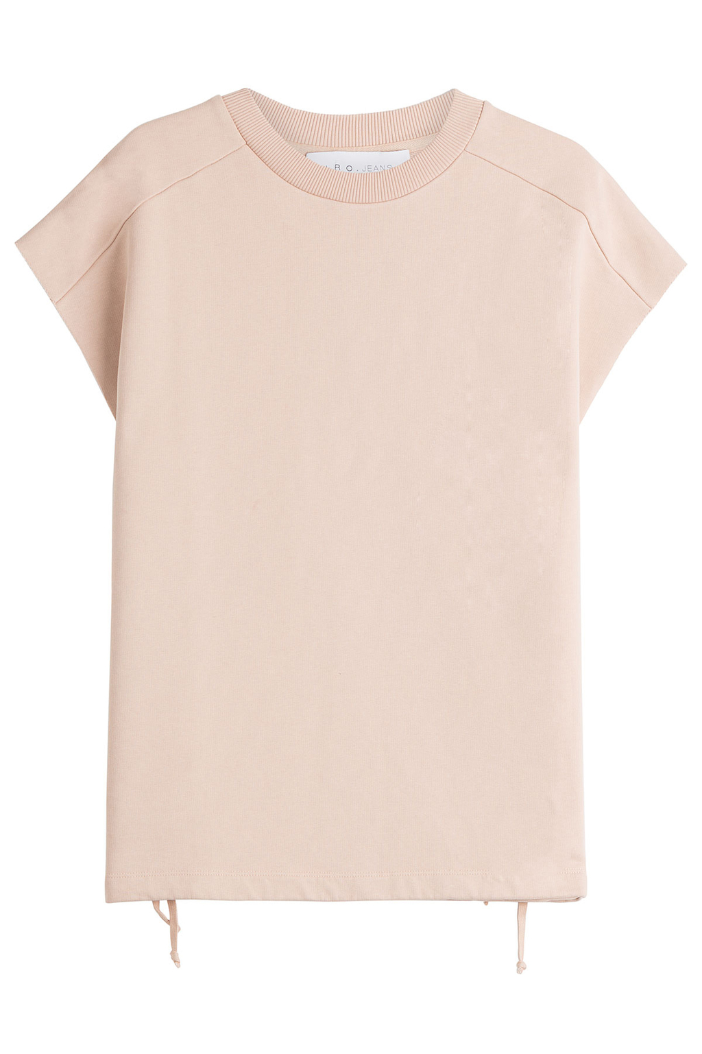 Roldan Cotton Top With Lace Up Detail Beige - pattern: plain; style: sweat top; predominant colour: blush; occasions: casual; length: standard; fibres: cotton - 100%; fit: body skimming; neckline: crew; sleeve length: short sleeve; sleeve style: standard; pattern type: fabric; texture group: jersey - stretchy/drapey; season: s/s 2016