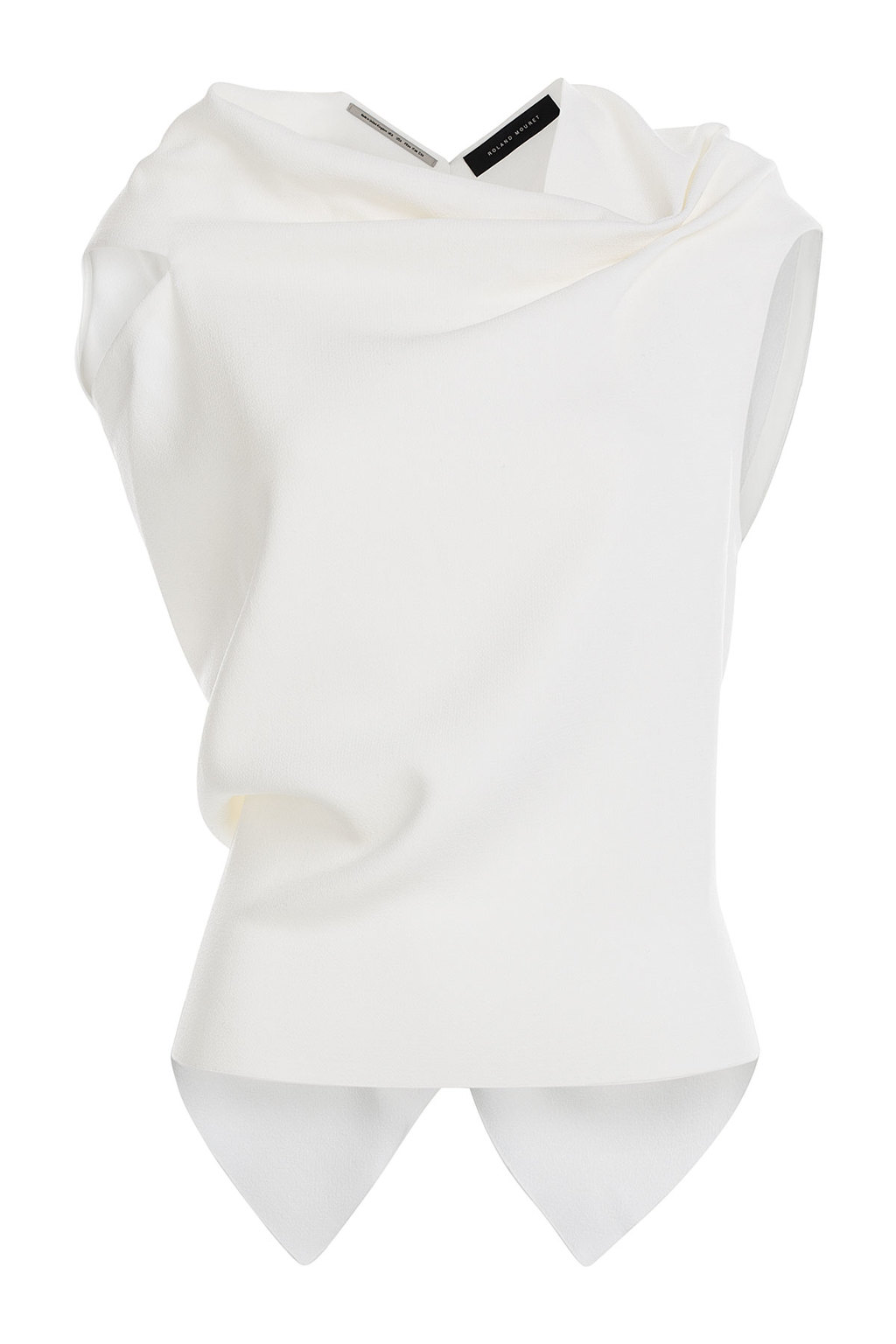 Wool Crepe Top With Open Back White - neckline: cowl/draped neck; sleeve style: capped; pattern: plain; predominant colour: white; occasions: casual; length: standard; style: top; fibres: wool - 100%; fit: body skimming; sleeve length: short sleeve; pattern type: fabric; texture group: woven light midweight; season: s/s 2016; wardrobe: basic
