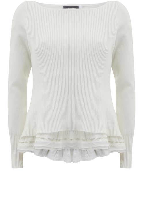 Ivory Rib Layered Knit - neckline: slash/boat neckline; pattern: plain; style: standard; predominant colour: ivory/cream; occasions: casual, creative work; length: standard; fit: slim fit; hip detail: added detail/embellishment at hip; sleeve length: long sleeve; sleeve style: standard; texture group: knits/crochet; pattern type: knitted - fine stitch; fibres: viscose/rayon - mix; season: s/s 2016