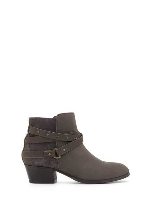 Grey Sheree Nubuck Ankle Boot - predominant colour: mid grey; occasions: casual; material: leather; heel height: mid; embellishment: buckles; heel: block; toe: round toe; boot length: ankle boot; style: standard; finish: plain; pattern: plain; season: s/s 2016; wardrobe: basic