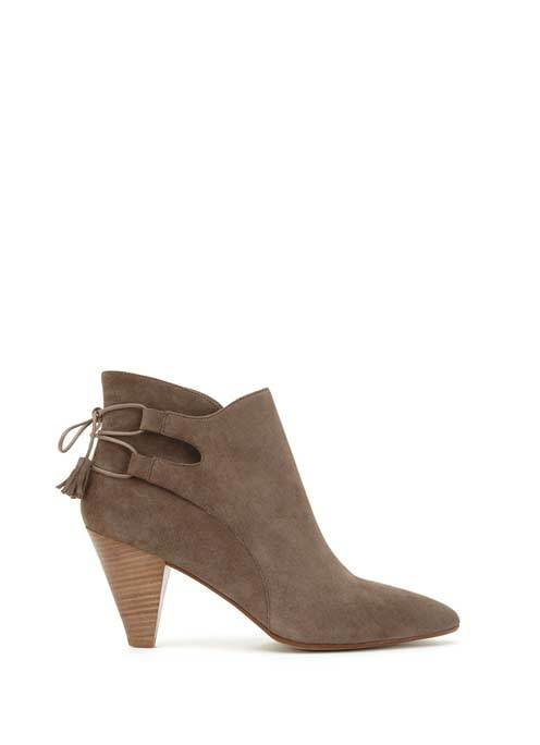 Taupe Rosa Tassle Ankle Boot - predominant colour: stone; occasions: casual; material: suede; heel height: high; heel: cone; toe: pointed toe; boot length: ankle boot; style: standard; finish: plain; pattern: plain; season: s/s 2016; wardrobe: highlight