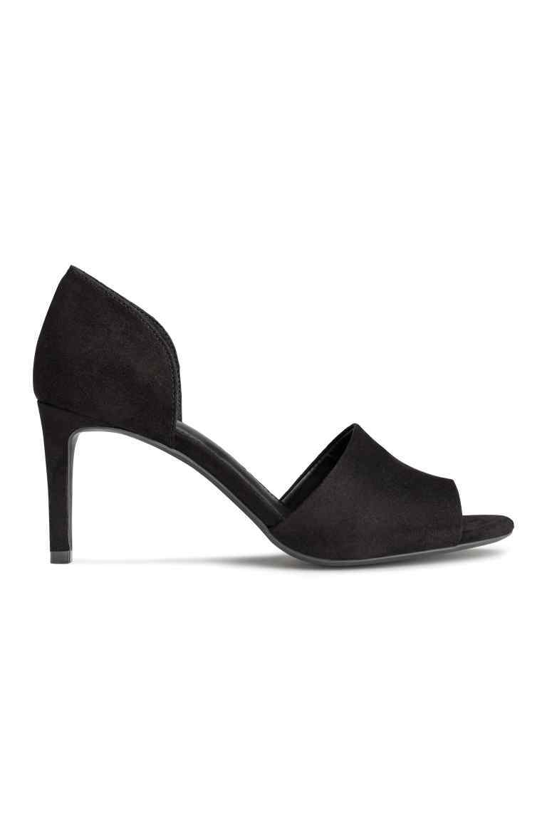 Peep Toe Court Shoes - predominant colour: black; occasions: evening, occasion; material: suede; heel height: high; heel: stiletto; toe: open toe/peeptoe; style: courts; finish: plain; pattern: plain; season: s/s 2016; wardrobe: event