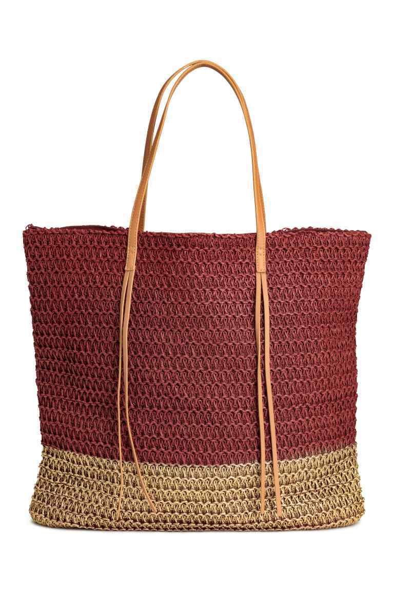 Straw Shopper - predominant colour: burgundy; secondary colour: tan; occasions: casual, holiday; type of pattern: standard; style: tote; length: handle; size: oversized; material: macrame/raffia/straw; pattern: striped; finish: plain; season: s/s 2016; wardrobe: highlight