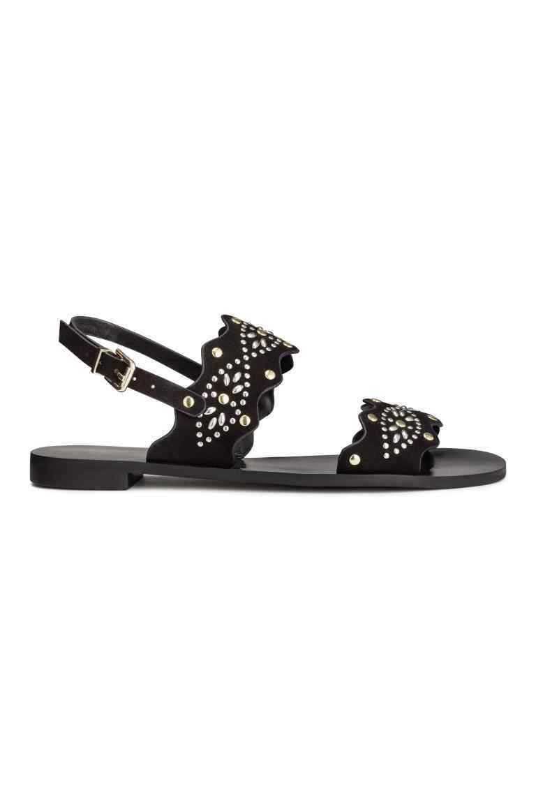 Studded Sandals - predominant colour: black; occasions: casual, holiday; material: faux leather; heel height: flat; embellishment: studs; heel: block; toe: open toe/peeptoe; style: strappy; finish: plain; pattern: plain; season: s/s 2016; wardrobe: highlight
