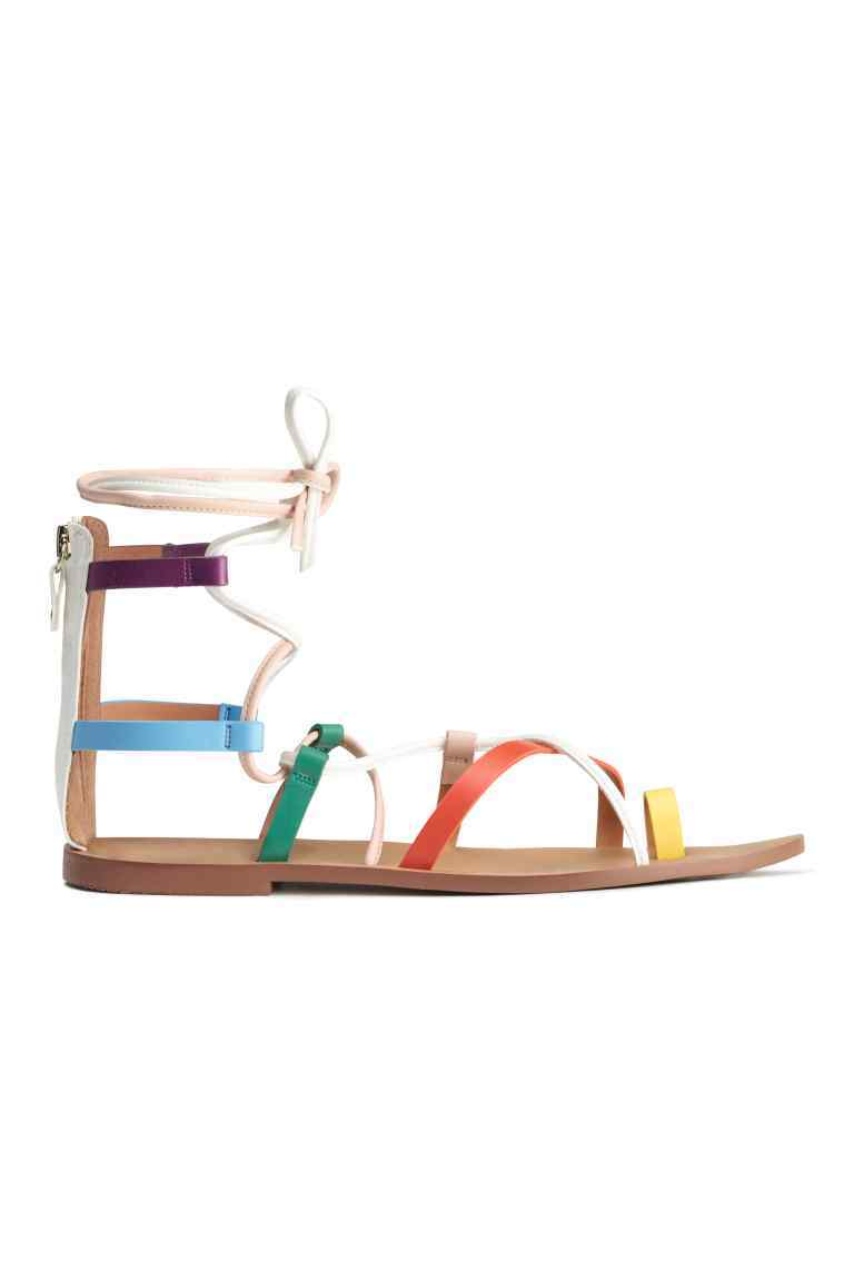 Multicoloured Sandals - predominant colour: tan; occasions: casual, holiday; material: faux leather; heel height: flat; ankle detail: ankle tie; heel: block; toe: open toe/peeptoe; style: strappy; finish: plain; pattern: plain; multicoloured: multicoloured; season: s/s 2016; wardrobe: highlight