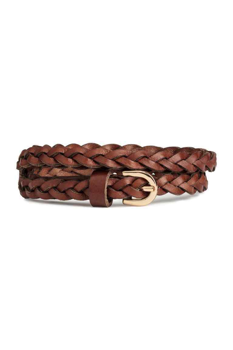 Braided Leather Belt - predominant colour: tan; occasions: casual, creative work; type of pattern: standard; style: plaited/woven; size: skinny; worn on: hips; material: leather; pattern: plain; finish: plain; season: s/s 2016