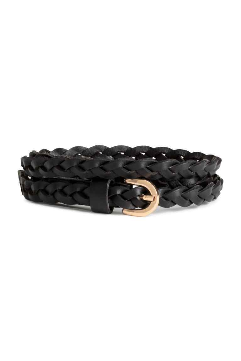 Braided Leather Belt - predominant colour: black; occasions: casual, creative work; type of pattern: standard; style: plaited/woven; size: skinny; worn on: hips; material: leather; pattern: plain; finish: plain; season: s/s 2016