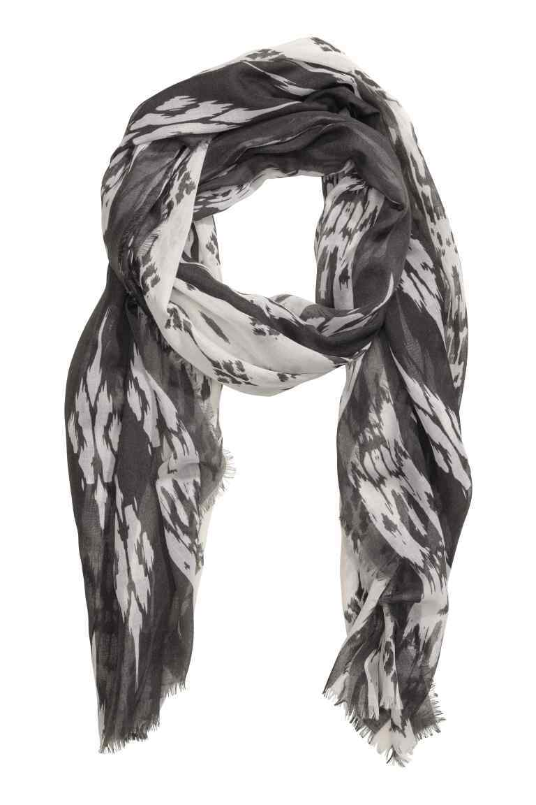Patterned Scarf - predominant colour: black; occasions: casual; type of pattern: large; style: regular; size: standard; material: fabric; pattern: patterned/print; season: s/s 2016; wardrobe: highlight