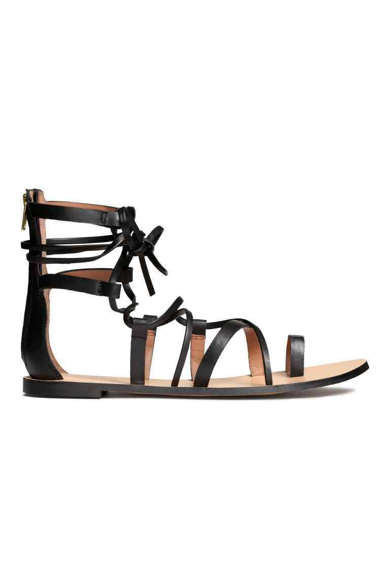 Leather Sandals - predominant colour: black; occasions: casual, holiday; material: leather; heel height: flat; ankle detail: ankle tie; heel: block; toe: open toe/peeptoe; style: strappy; finish: plain; pattern: plain; season: s/s 2016; wardrobe: basic