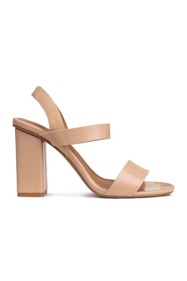 Patent Sandals - predominant colour: nude; occasions: casual, holiday; material: faux leather; heel height: high; heel: block; toe: open toe/peeptoe; style: strappy; finish: plain; pattern: plain; season: s/s 2016; wardrobe: investment