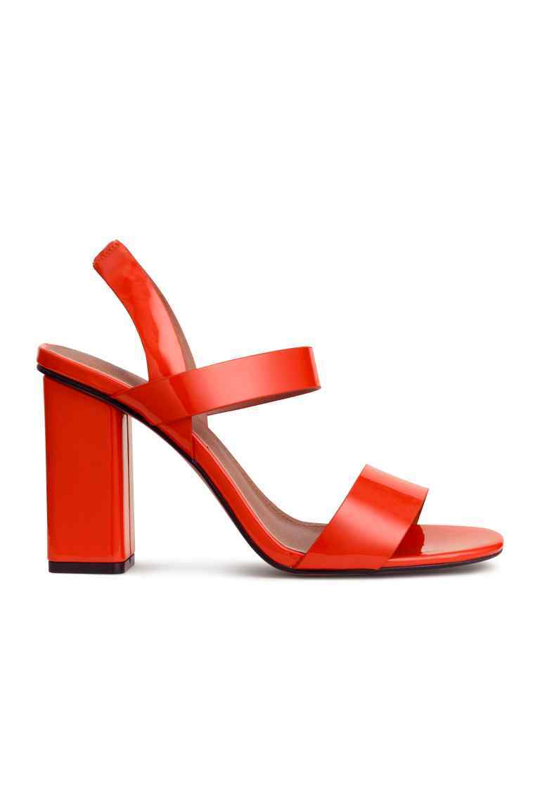 Patent Sandals - predominant colour: bright orange; occasions: evening; material: faux leather; heel height: high; heel: block; toe: open toe/peeptoe; style: standard; finish: patent; pattern: plain; season: s/s 2016; wardrobe: event