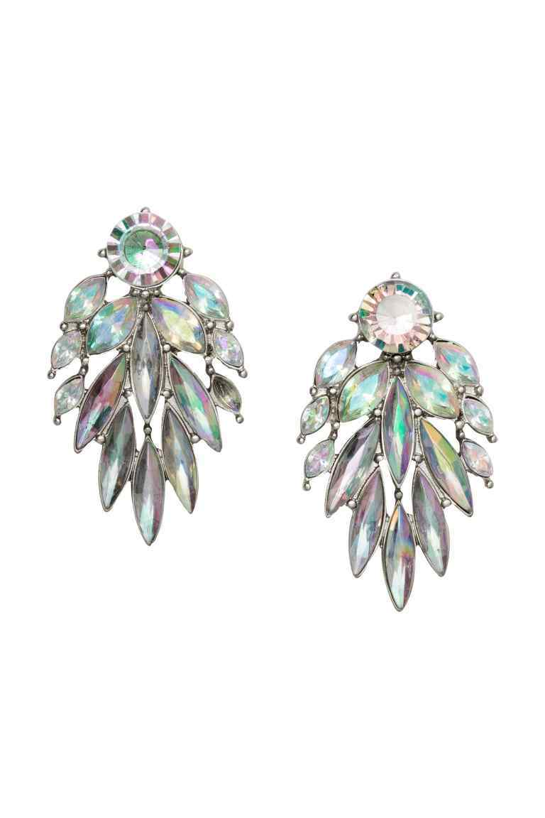 Sparkly Earrings - predominant colour: silver; occasions: evening, occasion; style: drop; length: mid; size: large/oversized; material: chain/metal; fastening: pierced; finish: plain; embellishment: jewels/stone; season: s/s 2016; wardrobe: event