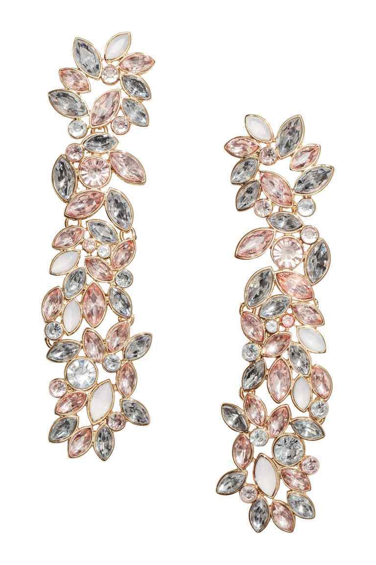 Long Sparkly Earrings - secondary colour: blush; predominant colour: silver; occasions: evening, occasion; style: drop; length: long; size: large/oversized; material: chain/metal; fastening: pierced; finish: metallic; embellishment: jewels/stone; season: s/s 2016; wardrobe: event