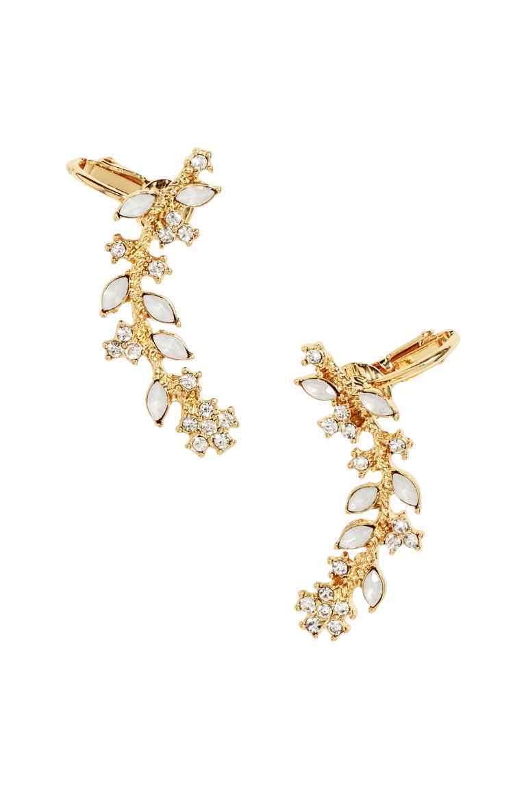 Sparkly Ear Decorations - predominant colour: gold; occasions: evening, occasion; length: mid; size: standard; material: chain/metal; fastening: pierced; finish: metallic; embellishment: crystals/glass; season: s/s 2016; style: ear cuffs; wardrobe: event