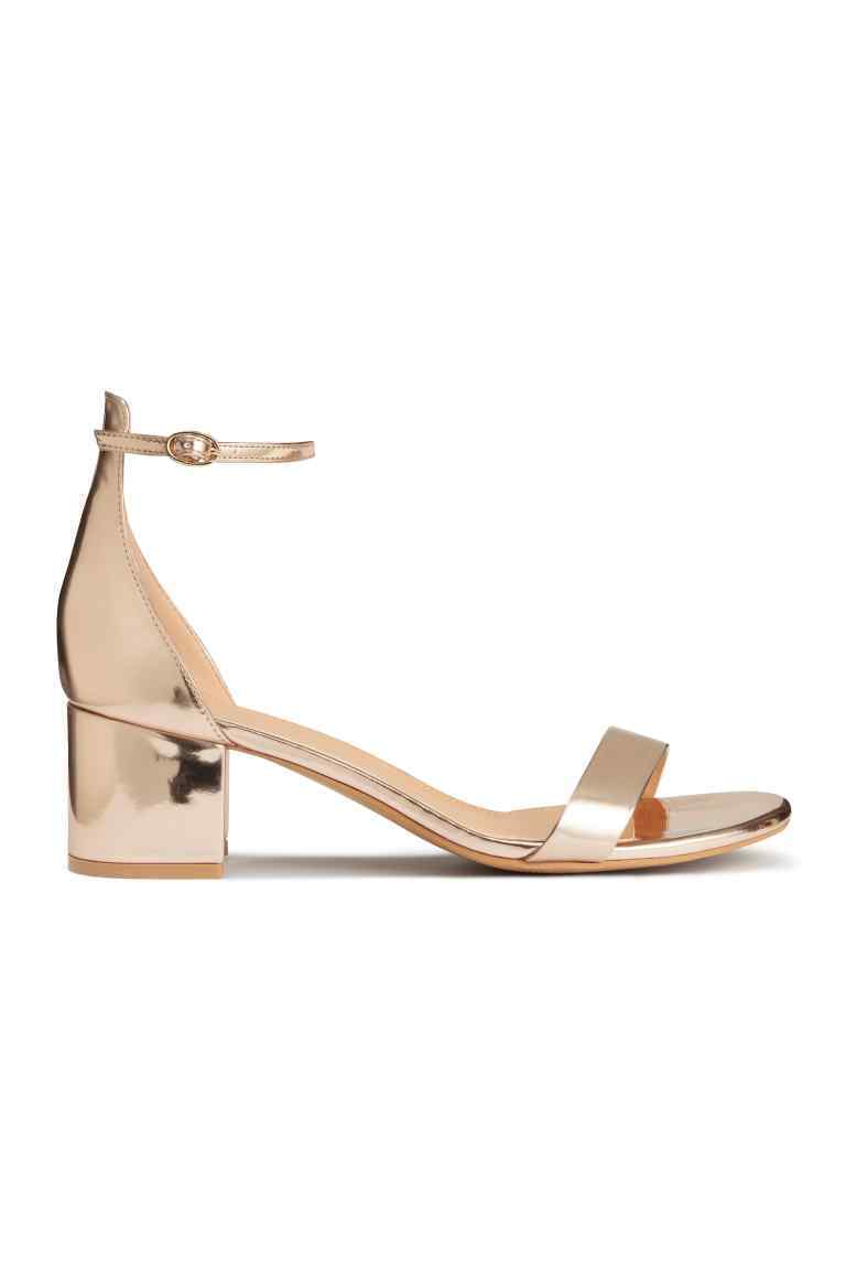Ankle Strap Sandals - predominant colour: gold; occasions: casual, evening; material: faux leather; heel height: mid; ankle detail: ankle strap; heel: block; toe: open toe/peeptoe; style: standard; finish: metallic; pattern: plain; season: s/s 2016; wardrobe: highlight