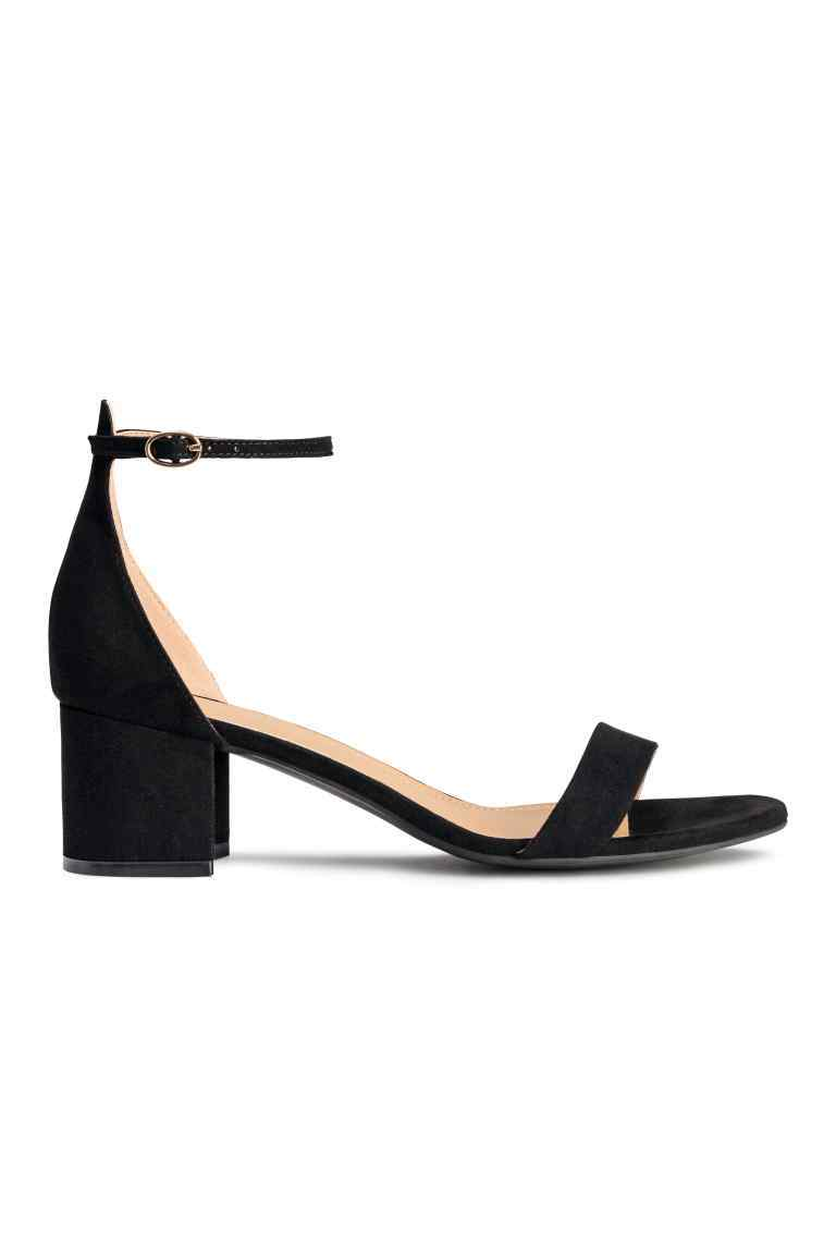 Ankle Strap Sandals - predominant colour: black; occasions: evening; material: suede; heel height: mid; ankle detail: ankle strap; heel: block; toe: open toe/peeptoe; style: standard; finish: plain; pattern: plain; season: s/s 2016; wardrobe: event