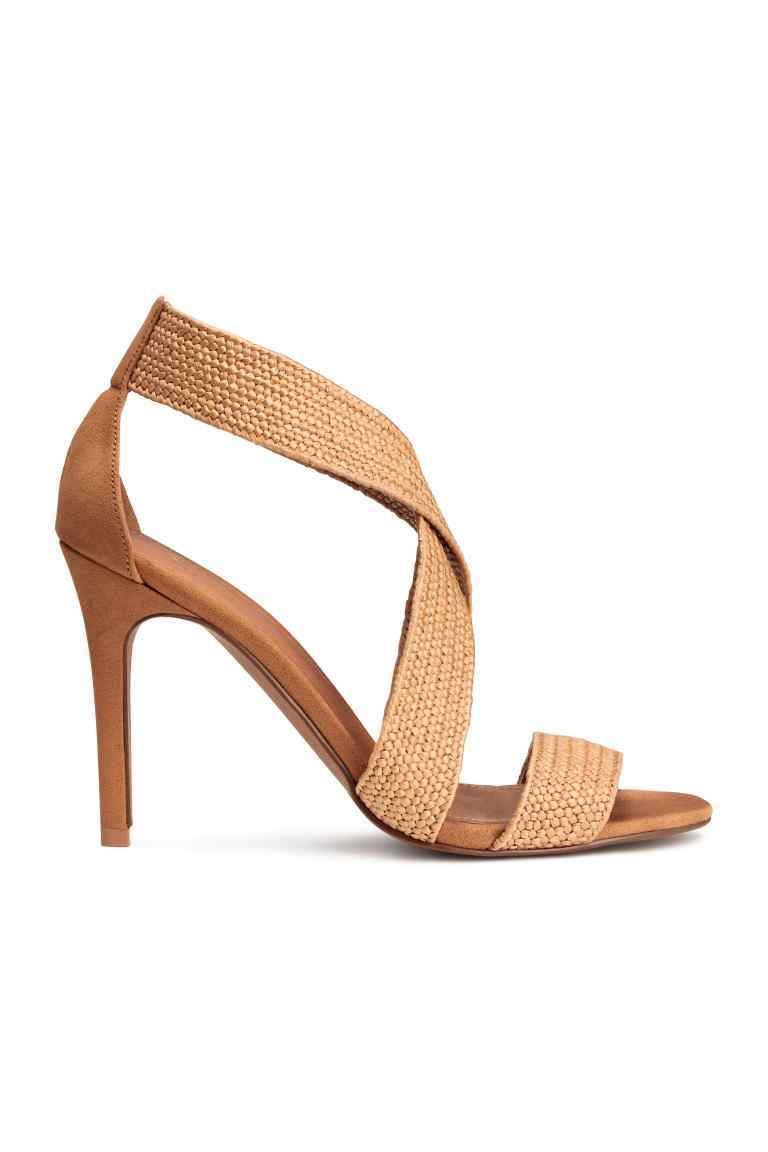 Sandals - predominant colour: camel; occasions: evening; material: fabric; heel height: high; heel: stiletto; toe: open toe/peeptoe; style: strappy; finish: plain; pattern: plain; season: s/s 2016; wardrobe: event
