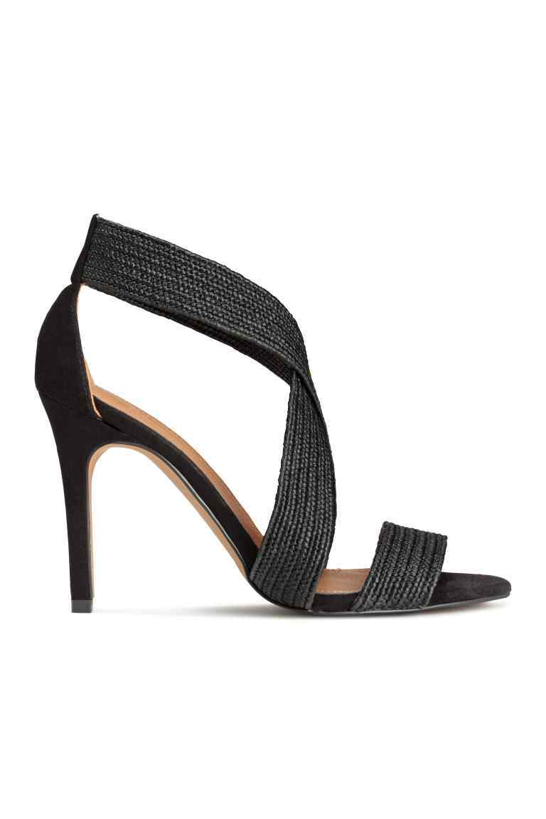 Sandals - predominant colour: black; occasions: evening; material: fabric; heel height: high; heel: stiletto; toe: open toe/peeptoe; style: strappy; finish: plain; pattern: plain; season: s/s 2016; wardrobe: event