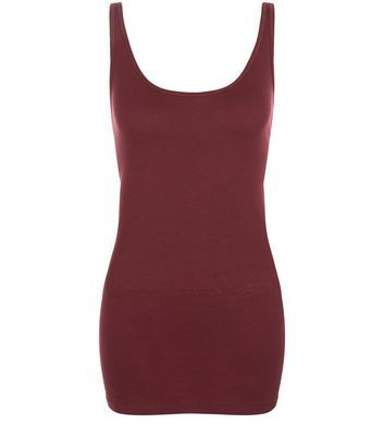 Burgundy Vest - pattern: plain; sleeve style: sleeveless; style: vest top; predominant colour: burgundy; occasions: casual; length: standard; neckline: scoop; fibres: cotton - 100%; fit: body skimming; sleeve length: sleeveless; pattern type: fabric; texture group: jersey - stretchy/drapey; season: s/s 2016; wardrobe: highlight