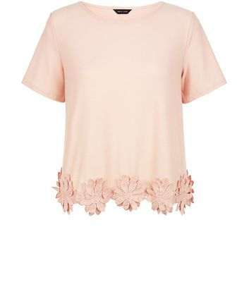 Shell Pink Crochet Floral Trim T Shirt - pattern: plain; style: t-shirt; predominant colour: blush; occasions: casual; length: standard; fibres: polyester/polyamide - stretch; fit: body skimming; neckline: crew; sleeve length: short sleeve; sleeve style: standard; pattern type: fabric; texture group: other - light to midweight; embellishment: embroidered; season: s/s 2016; wardrobe: highlight