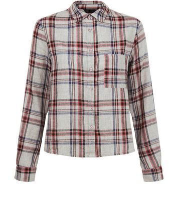 Grey Check Long Sleeve Shirt - neckline: shirt collar/peter pan/zip with opening; pattern: checked/gingham; style: shirt; secondary colour: burgundy; predominant colour: light grey; occasions: casual; length: standard; fibres: cotton - mix; fit: body skimming; sleeve length: long sleeve; sleeve style: standard; pattern type: fabric; texture group: other - light to midweight; pattern size: big & busy (top); multicoloured: multicoloured; season: s/s 2016; wardrobe: highlight