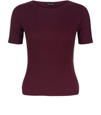 Burgundy Ribbed T Shirt - pattern: plain; style: t-shirt; predominant colour: burgundy; occasions: casual; length: standard; fibres: cotton - stretch; fit: body skimming; neckline: crew; sleeve length: short sleeve; sleeve style: standard; pattern type: fabric; texture group: jersey - stretchy/drapey; season: s/s 2016; wardrobe: highlight